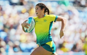 Australia's Charlotte Kaslick in action against Canada in their women's rugby sevens semi-final.