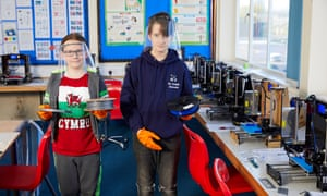 Isaac Sparey-Taylor, 11, and his brother, Joseph, 13, at the PPE Hwb Wrexham.