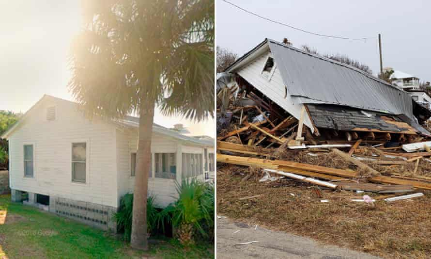 A destroyed home along highway 98 in Port St Joe, and the home as it looked in 2015 via Google Street View.