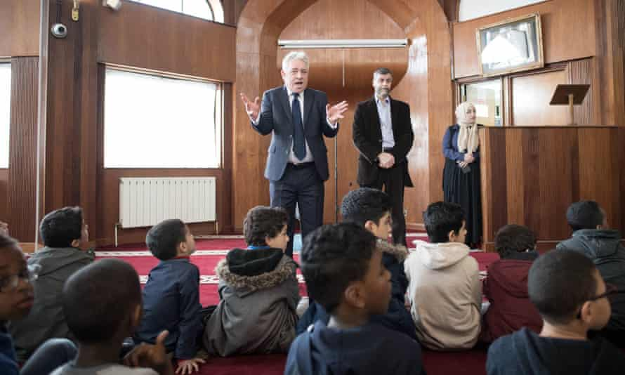 John Bercow meeting worshippers at Finsbury Park Mosque in north London in March 2019 after the Christchurch attack on two mosques in New Zealand killed 50 people.
