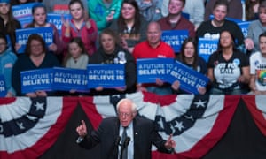 Sanders speaks to guests at a campaign rally at the Grand Theater in Wausau, Wisconsin.