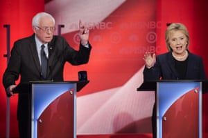 Bernie Sanders reacts to Hillary Clinton's answer to a question during the Democratic presidential primary debate at the University of New Hampshire.