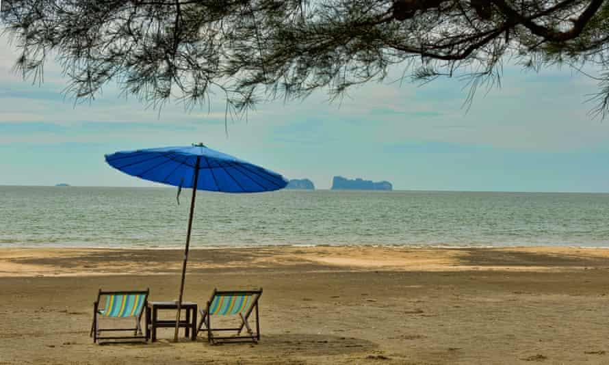 Empty beach on Koh Sukorn island in Thailand.