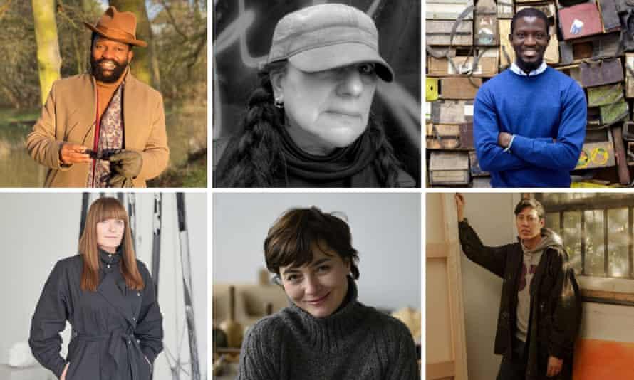 The contenders, clockwise from top left; Samson Kambalu, Teresa Margolles, Ibrahim Mahama, Nicole Eisenman, Paloma Varga Weisz, Goshka Macuga