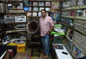Syed Zafar Shah in his gramophone repair centre
