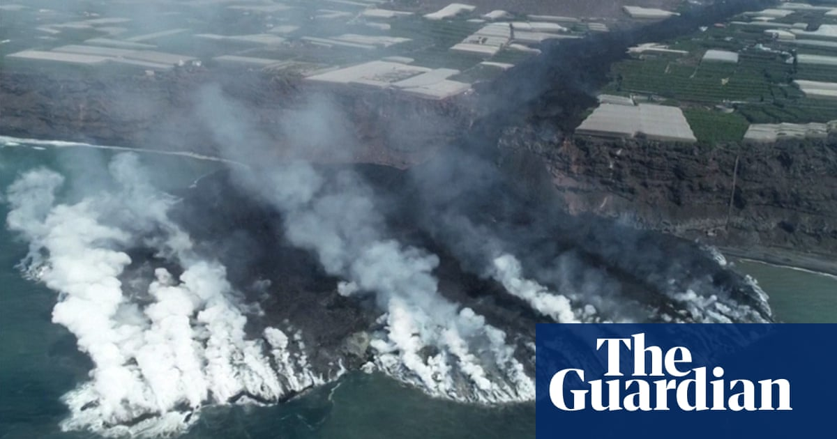 Drone footage shows path of devastation from La Palma's Cumbre Vieja volcano – video