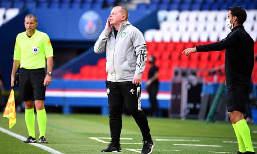 Neil Lennon on the touchline during a recent friendly at Paris Saint-Germain