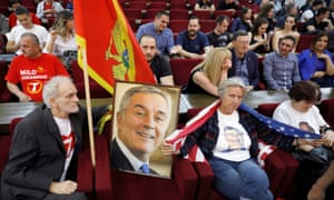 DPS supporters at party headquarters in Podgorica.