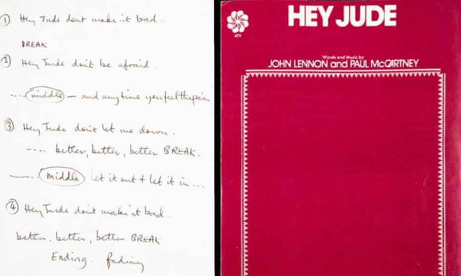 Paul McCartney's scribbled note for a recording session in London in 1968 of Hey Jude that fetched $910,00 in New York.