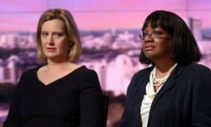Diane Abbott with Amber Rudd on the BBC's Andrew Marr Show, May 2017