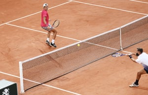 Benoit Paire (right) at the net during his defeat to Federico Coria.