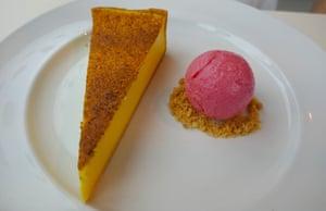 Custard tart and sorbet at Ambulo.