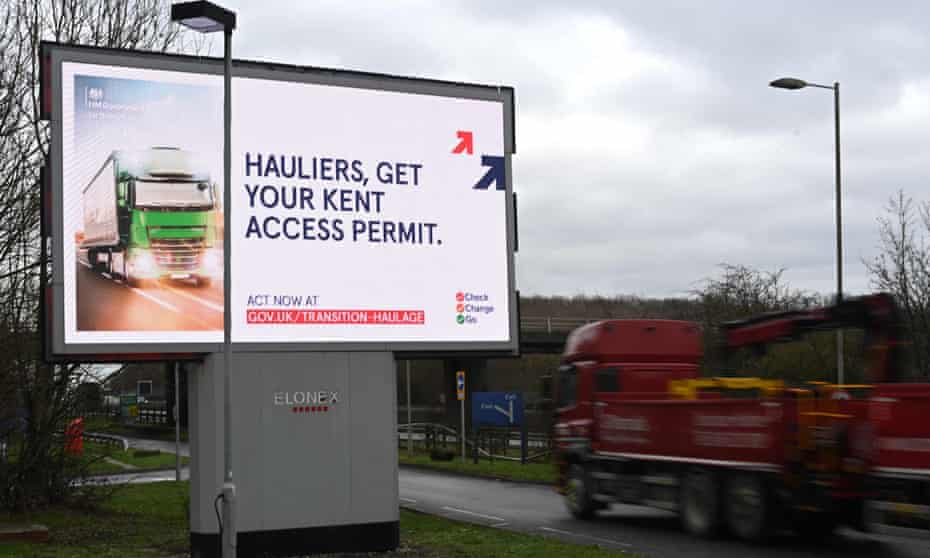 Electronic billboard warning hauliers of the new documentation required to travel through Kent for access to the Port of Dover or Eurotunnel