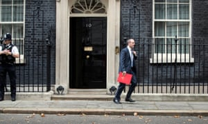 Dominic Raab, the Brexit secretary, leaving Number 10 after yesterday's cabinet meeting.