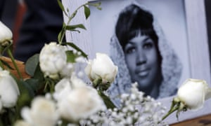 Flowers and pictures on Aretha Franklin's star along the Hollywood Walk of Fame after she died aged 76.