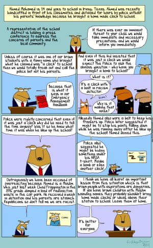 First Dog on the Moon cartoon about Ahmed Mohamed, the Muslim boy who was arrested for bringing a home-made clock to school in Texas.