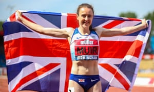 Laura Muir holds a Union Jack behind her back