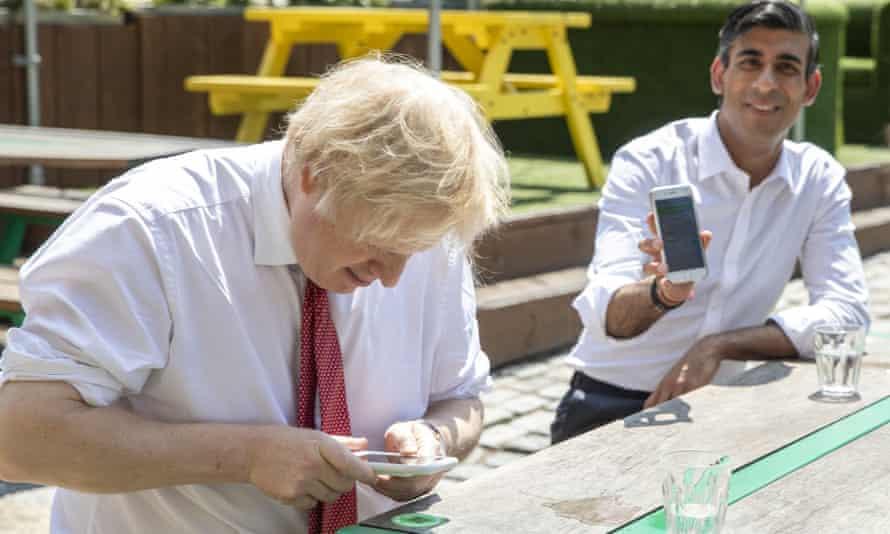 Boris Johnson and Rishi Sunak in West India Quay, London Docklands, June 2020.