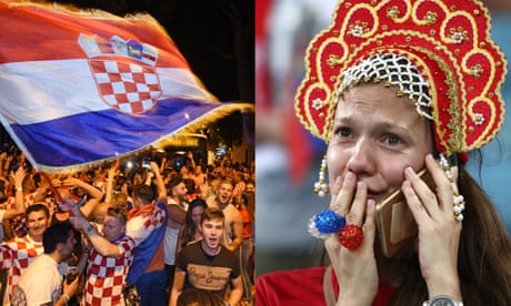 Croatia fans celebrate World Cup quarter-final win as Russians are left devastated – video
