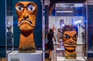 Akua Hulu Manu – feathered god images from Hawaii – in the Royal Academy's Oceania exhibition.