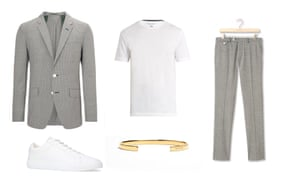 Jacket £245, jigsaw-online.com, trousers, £105, jigsaw-online.com, pumps, £98, jigsaw-online.com, t-shirt, £45 Hamilton and Hare,matchesfashion.com, bracelet, £240, alexorso.com