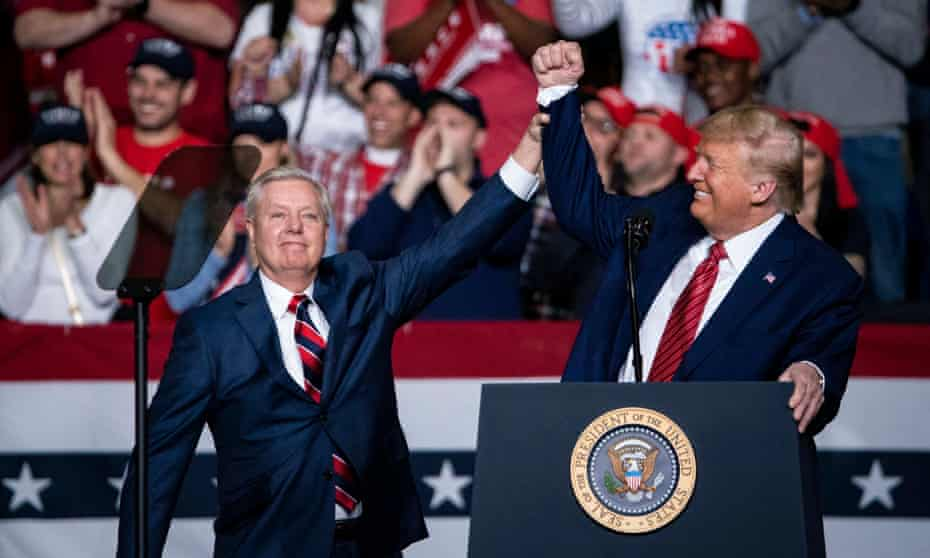Graham and Trump during a campaign rally at the North Charleston Coliseum, in February.