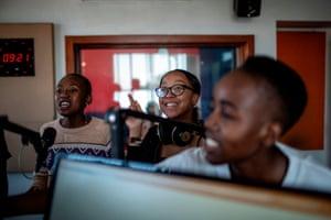 Michelle Selemela, Keabetswe Lebakeng and Gomolemo Seboko at work in the studio
