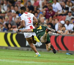 Dugan's desperate dive derails a potential breakaway try by Kallum Watkins: Gregg Porteous/NRL Imagery/PA Wire.