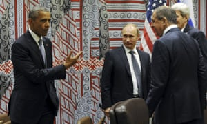 President Obama meets Vladimir Putin at the UN, New York, in September 2015 with foreign minister Sergei Lavrov and secretary of state John Kerry.