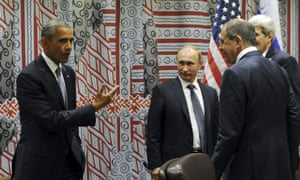 President Barack Obama meets, from left, the Russian president, Vladimir Putin, and foreign minister, Sergei Lavrov, along with the US secretary of state, John Kerry, at the United Nations this week.
