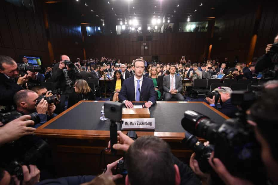 Mark Zuckerberg arrives to testify before a joint hearing of the US Senate commerce, science and transportation committee and the Senate judiciary committee.
