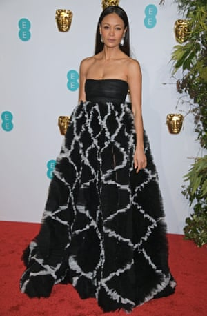 Thandie Newton wore a beautiful full-skirt gown from Valentino, with Jimmy Choo shoes