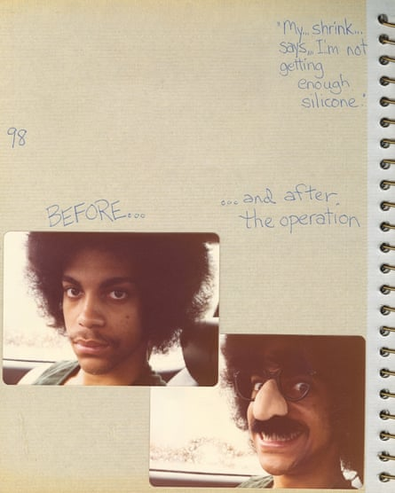 A page from a photo album Prince put together when he was 19 and recording his debut album, For You, in California.