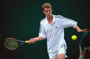 2002: Andy Murray in action during the Boys Singles during day eight of the Wimbledon Lawn Tennis Championships