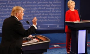 Republican nominee Donald Trump and Democratic nominee Hillary Clinton at the first presidential debate at Hofstra University in Hempstead, New York on Monday.