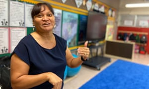 Bertilia Yamasta teaches her kindergarten class at at P.C. Lujan Elementary in Guam to speak CHamoru, the traditional language of the Mariana Islands.