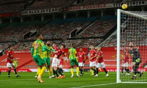 Kyle Bartley of West Bromwich Albion (second left) sees his header just go over the bar.