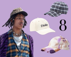 Baseball caps: From the celebrity disguise of choice to the preferred headgear of the 90s, the baseball cap has retained an essential spot in men's wardrobes. From subtle logos to check and floral, the baseball cap is having a home run. Clockwise from left: Celine SS21. Cream, £30, dickieslife.com. Check, £95, APC at matchesfashion.com. Tie dye, £35, weekday.com