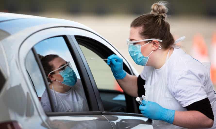 A drive-through coronavirus test