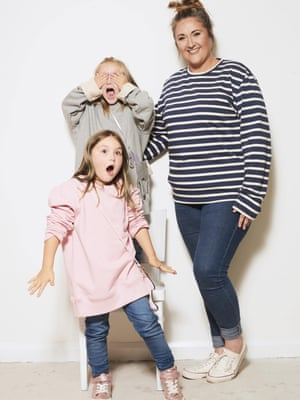 Donna, 39, Entertainer; Caoimhe, 5; and Medi, 4Pink sweatshirt, £39, grey sweatshirt, £39, and striped long sleeve t-shirt, £35