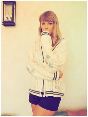 Taylor Swift in her signature cardigan