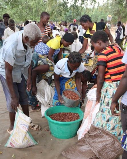 People are divide pulses among themselves at a United Nations World Food Programme food distribution centre in Chikwawa district, Malawi.
