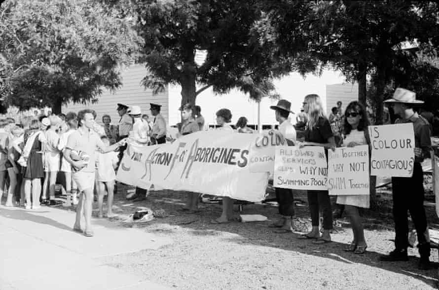 A Student Action for Aborigines protest outside Moree pool, February 1965