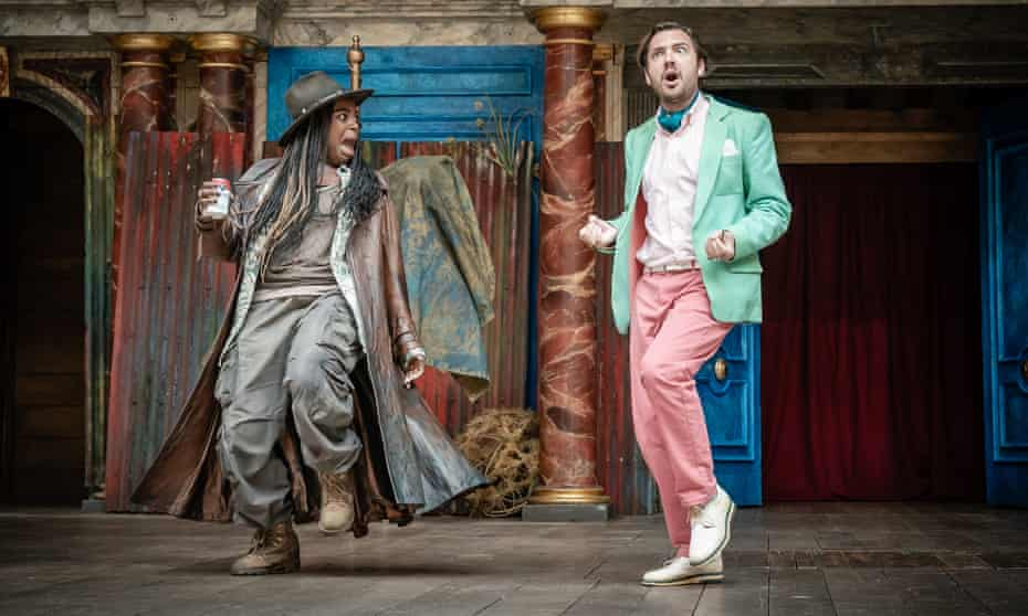 Nadine Higgin as Sir Toby Belch with George Fouracres as Sir Andrew Aguecheek in Twelfth Night.