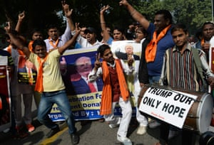 Rightwing activists of India's Hindu Sena celebrate victory for US Republican presidential candidate Donald Trump