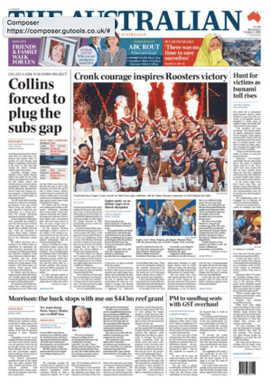 front page australian 1 october 2018