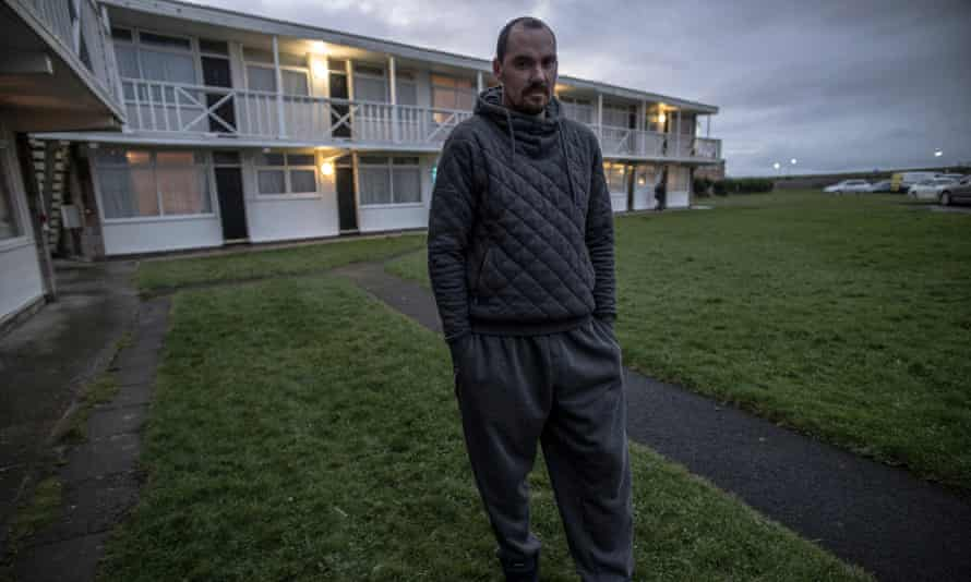 'It could be months, perhaps years, before we get a place …' Shaun outside the chalet complex where his family is housed.