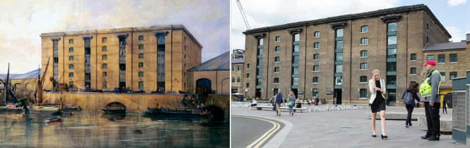 Before (as a warehouse c1850) … and after (as the privately owned public space, Granary Square