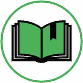 Illustration of bookmarked page in white circle with green border