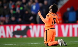 Mohamed Salah thanks Allah after scoring a goal